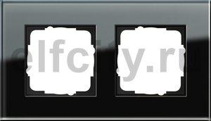 Рамка 2 поста, для горизонтального/вертикального монтажа, черное стекло