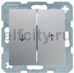Выключатель управление жалюзи, клавишный, 10 А / 250 В, пластик под алюминий
