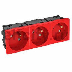 Розетка тройная 33° Modul45connect, франц. стандарт, 250 В, 16A (красный)