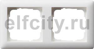 Рамка 2 поста, для горизонтального/вертикального монтажа, пластик белый матовый