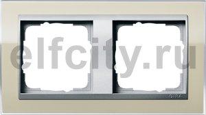 Рамка 2 поста, для горизонтального/вертикального монтажа, пластик прозрачный песочный-алюминий