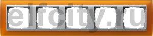Рамка 5 постов, для горизонтального/вертикального монтажа, пластик матово-янтарный/алюминий