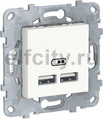 UNICA NEW розетка USB, 2-местная, тип А+А, 5 В / 2100 мА, белый