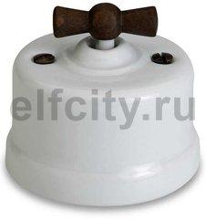 Выключатель поворотный одноклавишный перекресный (вкл/выкл с 3-х мест) 10 А / 250 В, наружный монтаж, белый фарфор, ручка старое дерево