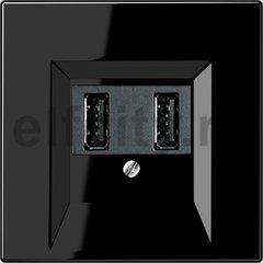 Зарядное USB устройство на два выхода , 2х750 мА / 1х1500 мА, пластик черный глянцевый