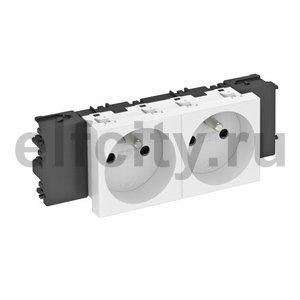 Розетка двойная 0° Modul45connect франц. стандарт, 250 В, 16A (серебристый)