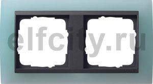 Рамка 2 поста, для горизонтального/вертикального монтажа, пластик матово-салатовый/антрацит