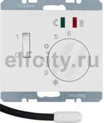 Регулятор температуры помещения пола с замыкающим контактом, с центральной панелью и светодиодом, K.1, цвет: полярная белизна, глянцевый