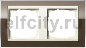 Рамка 2 поста, для горизонтального/вертикального монтажа, пластик прозрачный коричневый-кремовый глянец
