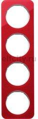 Рамка 4 поста, для горизонтального/вертикального монтажа, акрил красный/белый