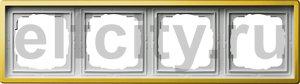 Рамка 4 поста, для горизонтального/вертикального монтажа, пластик под латунь