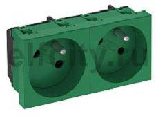 Розетка двойная 33° франц. стандарт, 250 В, 16A (зеленый)