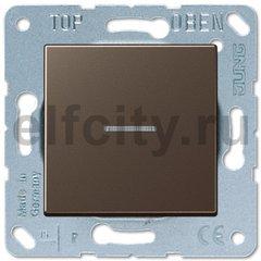 Выключатель одноклавишный с подсветкой, универс. (вкл/выкл с 2-х мест) 10 А / 250 В, мокко