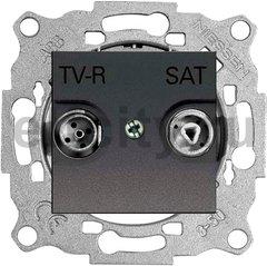 Розетка телевизионная одиночная TV-FM/SAT, диапазон частот от 47 до 2150 Mгц, антрацит