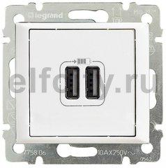 Зарядное USB устройство с двумя выходами, используется для зарядки планшетных компьютеров, телефонов, MP3 и MP4 плейеров, 1500мА, пластик белый глянцевый