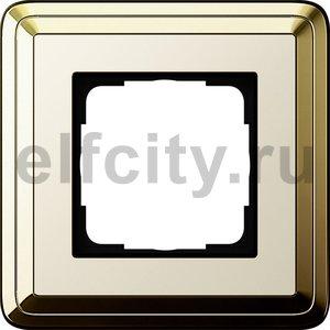 Рамка 1 пост, латунь/кремовый