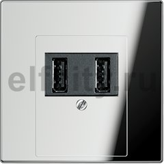 Зарядное USB устройство на два выхода , 2х750 мА / 1х1500 мА, блестящий хром