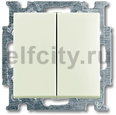 Выключатель двухклавишный, 10 А / 250 В, шале-белый