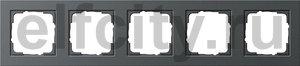 Рамка 5 постов, для горизонтального/вертикального монтажа, пластик антрацит