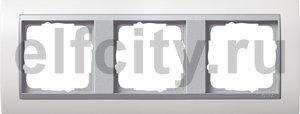 Рамка 3 поста, для горизонтального/ вертикального монтажа, пластик матово-белый/алюминий