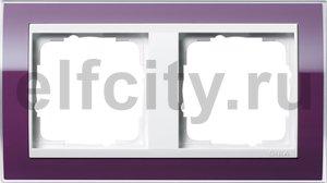Рамка 2 поста, для горизонтального/вертикального монтажа, темно-фиолетовый-глянец белый