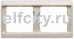 Рамка 2 поста, для горизонтального монтажа, пластик кремовый (белый с блеском)