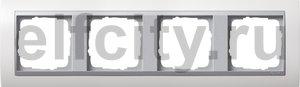 Рамка 4 поста, для горизонтального/ вертикального монтажа, пластик матово-белый/алюминий
