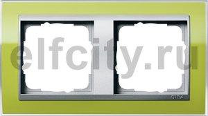 Рамка 2 поста, для горизонтального/вертикального монтажа, пластик прозрачный зеленый-алюминий