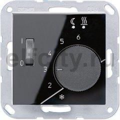 Термостат 230 В~ 10А с выносным датчиком, для электрического подогрева пола, пластик черный глянцевый