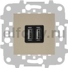 Зарядное USB устройство на два выхода, 2х750 мА / 1х1500 мА, шампань