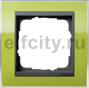 Рамка 1 пост, пластик прозрачный зеленый-антрацит