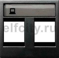 Накладка для 2-х суппортов/разъёмов типа 2017... и/или 2018..., 2-модульная, серия Zenit, цвет антрацит