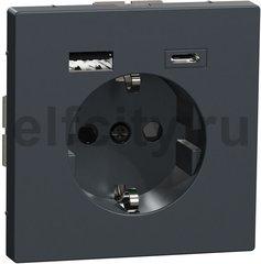 Розетка с разъёмом  c зарядкой USB  A+C, 3 A, серии D-Life , антрацит