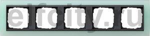 Рамка 5 постов, для горизонтального/вертикального монтажа, пластик матово-салатовый/антрацит