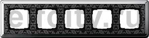 Рамка 5 постов, для горизонтального/вертикального монтажа, хром/черный