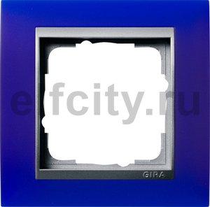 Рамка 1 пост, пластик матово-синий/алюминий