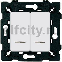 Выключатель двухклавишный с подсветкой 10 А / 250 В, белый