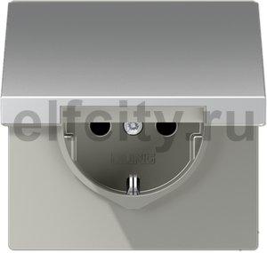 Розетка с заземляющими контактами 16 А / 250 В, с откидной крышкой и защитой от детей, автоматические зажимы, алюминий