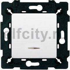 Выключатель одноклавишный с подсветкой, 10 А / 250 В, белый