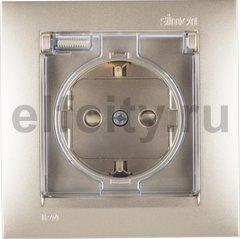 Розетка с заземляющими контактами 16 А / 250 В, с откидной крышкой и уплотнительной мембраной IP44, комплектуется рамкой, шампань