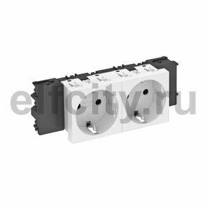 Розетка двойная 0° Modul45connect с з/к, 250 В, 16A (белый)