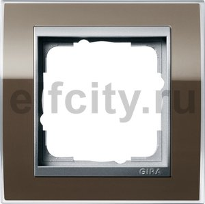 Рамка 1 пост, пластик прозрачный коричневый-алюминий