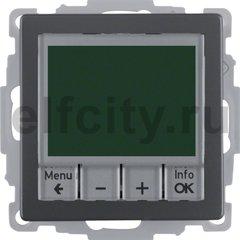 Термостат електронный программируемый, с выносным датчиком, для электрического подогрева пола 230 В~ 8А, антрацитовый, с эффектом бархата