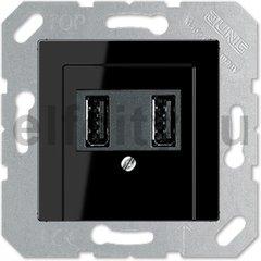 Зарядное USB устройство на два выхода, 2х750 мА / 1х1500 мА, пластик черный глянцевый