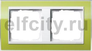 Рамка 2 поста, для горизонтального/вертикального монтажа, пластик прозрачный зеленый-глянц.белый