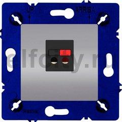 Розетка одинарная, для стерео-громкоговорителя, светлый хром/черный