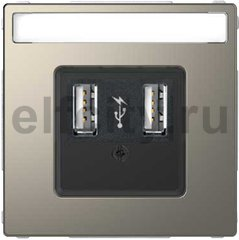 Зарядное USB устройство , 2,1А (2*1,05), никель