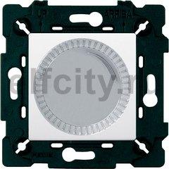 Диммер (светорегулятор) поворотный 40-500 Вт для ламп накаливания и галогенных 220В, светлый хром/белый