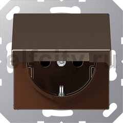 Розетка с заземляющими контактами 16 А / 250 В, с откидной крышкой, мокко