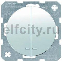 Выключатель двухклавишный с подсветкой, 10 А / 250 В, полярная белизна